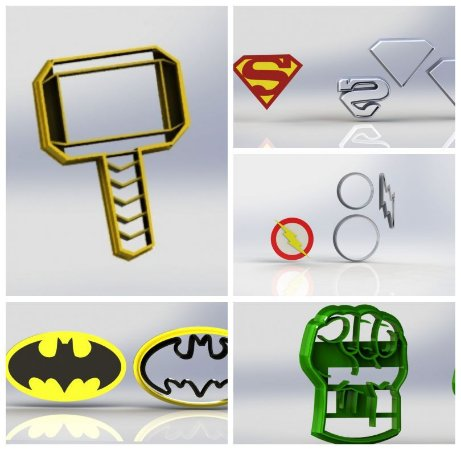 Cortador Kit Heróis 9 modelos Modulares Batman Flash Hulk Thor Mulher Marav Homem Ferro Aranha Capitão Super