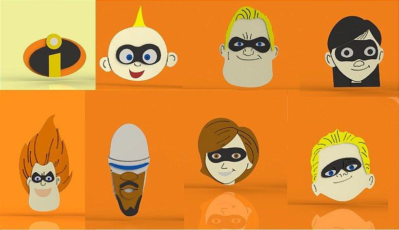 Cortador Kit Os Incríveis - 7 Personagens + Logo