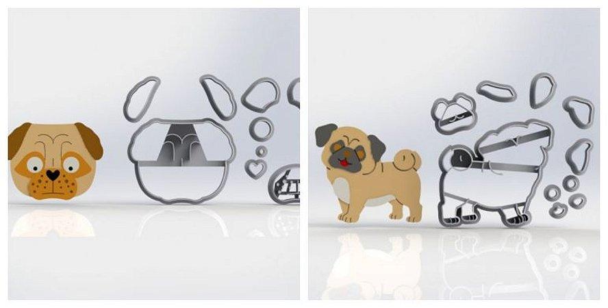 Cortador Kit Cachorro Pug Rosto e Corpo Modulares