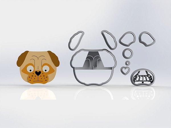 Cortador Cachorro Pug Rosto Modular