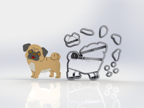 Cortador  Cachorro Pug Corpo Modular