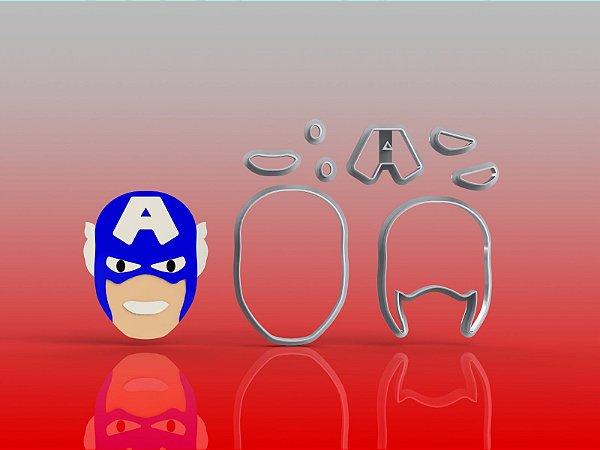 Cortador Heróis - Capitão América Rosto Modular