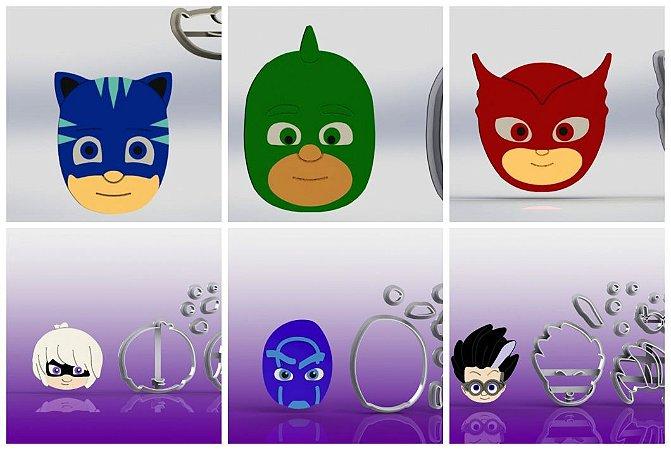 Cortador Kit PJ Masks Modulares + Viloes (6 Personagens)