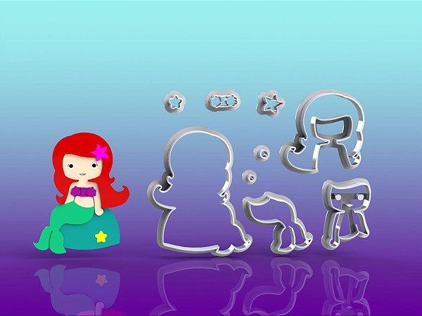 Cortador Pequena Sereia Ariel Cute Modular