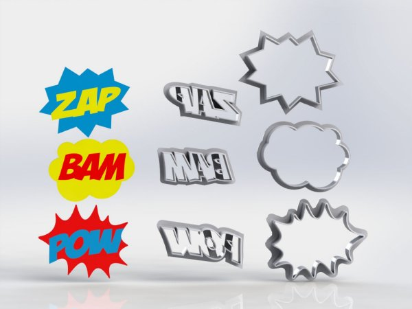 Cortador Onomatopeias ZAP BAM POW + molduras Placas Balões
