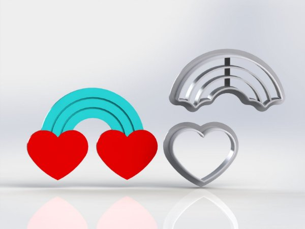 Cortador Dia dos Namorados  - Arco-Iris Coração