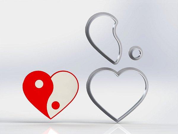 Cortador Dia dos Namorados  - Coração Yin Yang