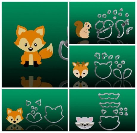 Cortador Kit Animais do Bosque Encantado Floresta Mod 1