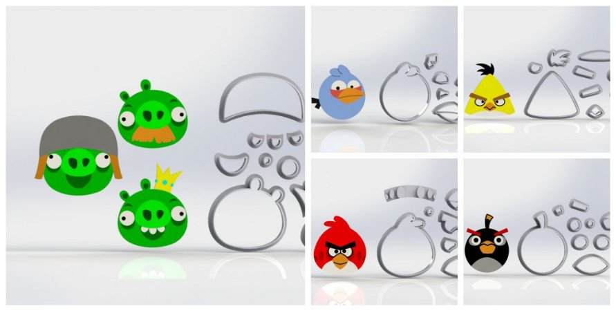 Cortadores Kit Angry Birds - 7 Modelos Modulares