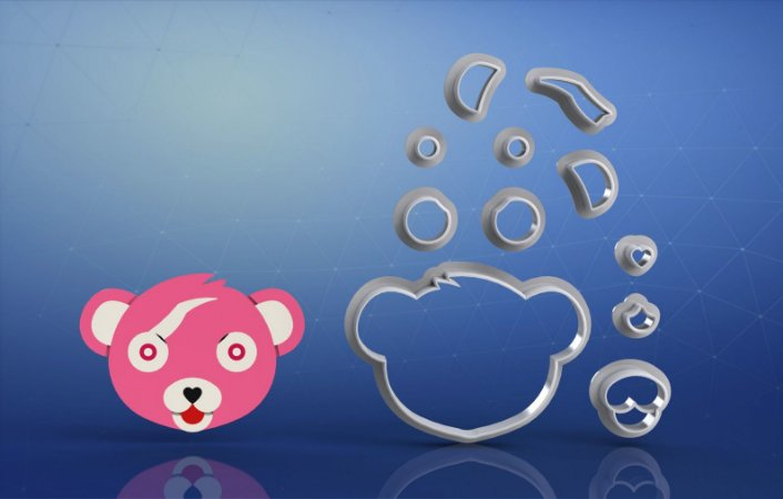 Cortador Fortnite - Urso Pink Teddy Modular