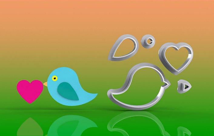 Cortador Pássaro com Coração Modular - Passarinho