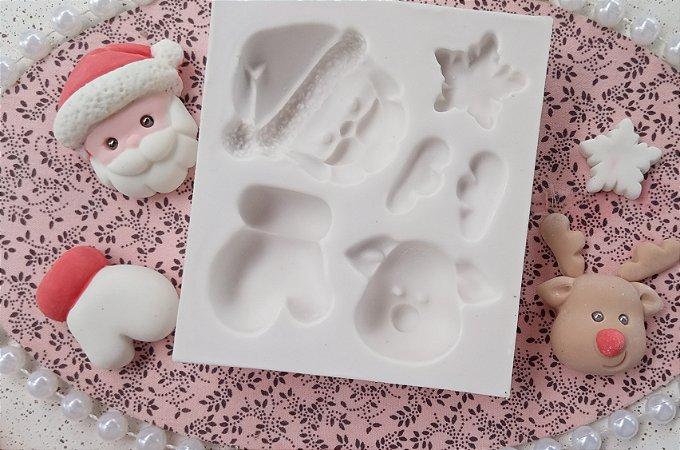 Molde silicone Natal Aplique Papai Noel Luvas Rena E Estrela 3D