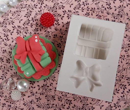 Molde silicone Pacote Presente De Natal 1 Laço