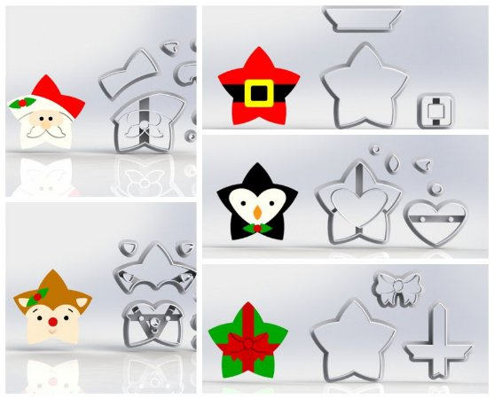 Cortadores Kit Estrelas de Natal - 5 Modelos Modulares