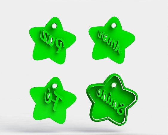 Cortadores Kit Estrelas Paz Amor Fé Saúde (Marcadores e cortador) Plaquinhas Natal