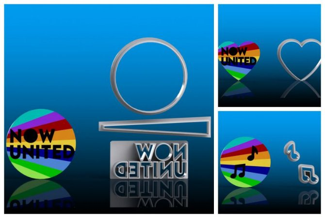 Cortador Kit Now United - Logo + Notas Musicais + Coração