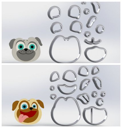 Cortador Kit Puppy Dog Pals Cachorro Pug Modulares
