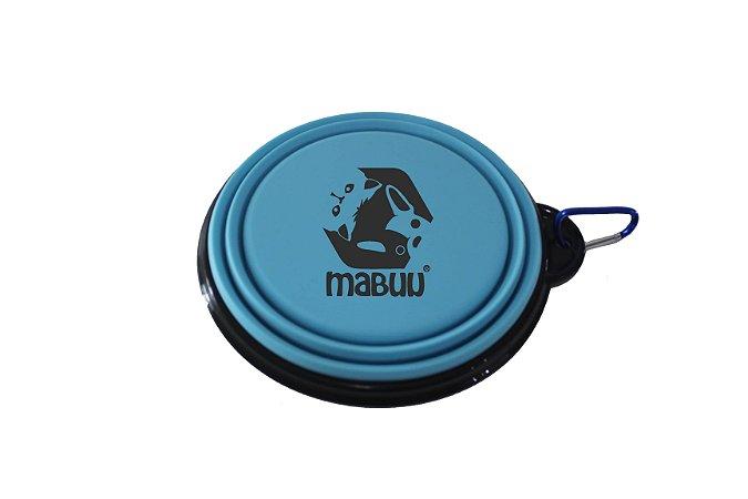 Comedouro/Bebedouro Portátil e Dobrável em Silicone – Azul