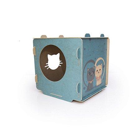 Toquinha em Cubo de MDF para Gatos - Azul