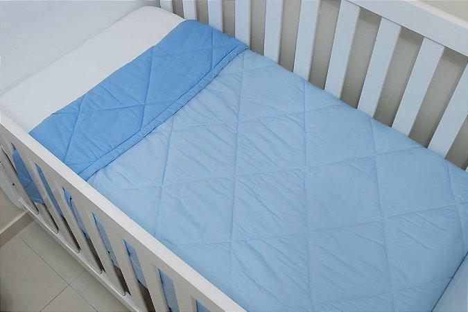 Edredom Dupla-face para Berço - Azul e Azul Bebê