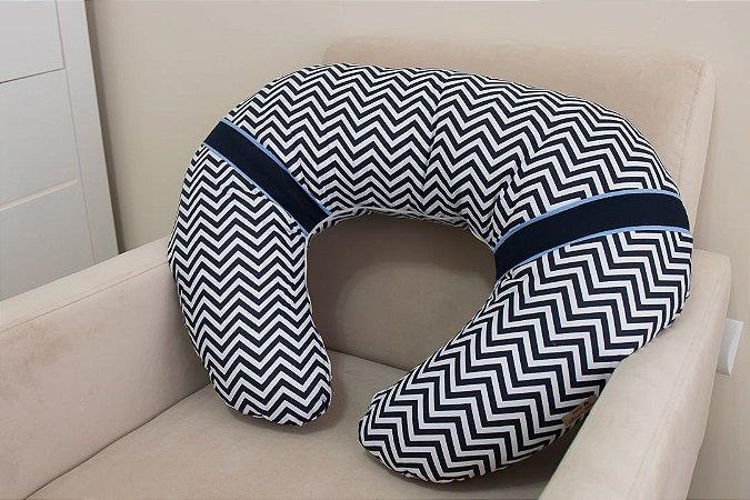 Almofada de Amamentação - Chevron Azul Marinho, Azul Marinho e Azul Bebê