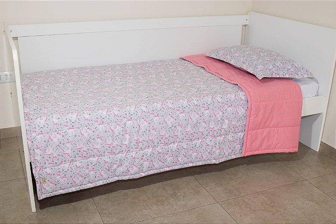Edredom dupla-face para cama Solteiro - Estampa Unicórnio Cinza e Rosa Goiaba