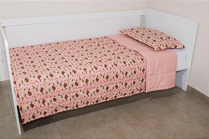Edredom dupla-face para cama Solteiro - Estampa Fundo do Mar Salmão e Marrom