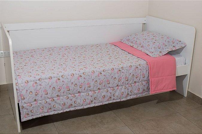 Edredom dupla-face para cama Solteiro - Estampa Bailarina Cinza e Rosa Goiaba