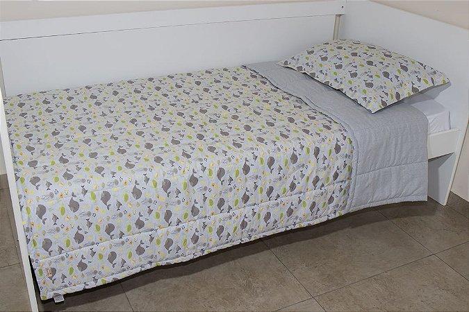 Edredom dupla-face para cama Solteiro - Estampa Fundo do Mar Cinza