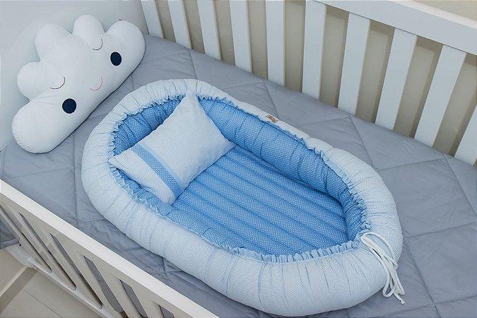 Ninho Redutor de Berço - Listrado Azul Bebê e Poá Azul