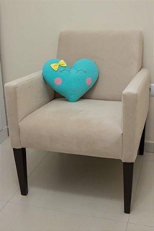 Almofadinha Coração - Estampa Poá Turquesa com Laço Poá Amarelo