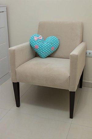 Almofadinha Coração - Estampa Bolão Turquesa com laço Poá Rosa Bebê