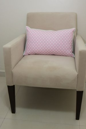 Almofada de Encosto para Poltrona de Amamentação - Estampa Bolão Rosa