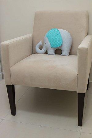Almofadinha Elefantinho - Cinza Claro Poá e Tiffany Poá