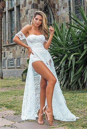 Vestido longo manguinha princesa tule bordado