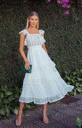 Vestido Amanda, modelo de noiva off white com guipir