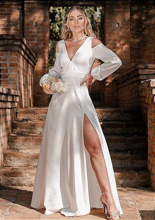 Labella - Vestido de noiva manga longa com decote e fenda alta