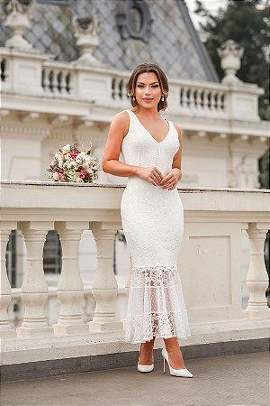 Vestido de renda de noiva max com amarração nas costas