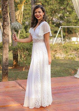 Vestido de noiva longo com manga boho chic decote V - Vestido Elis