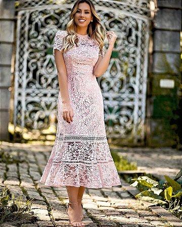 Vestido rosê midi em renda gola alta manga curta, madrinha de casamento, aniversário, formatura
