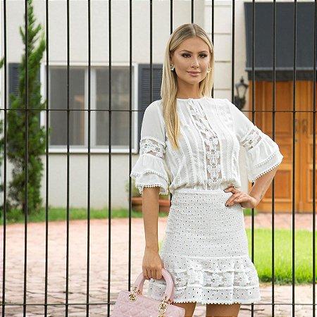 Conjunto saia e blusa branca de manga saia de lasie