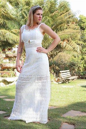 Vestido de noiva civil longo alças de amarrações