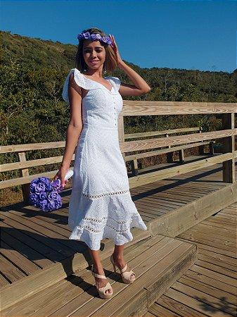 Vestido midi para casamento civil alças com babado