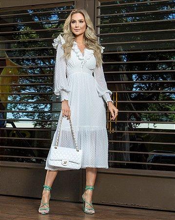 Vestido de noiva civil manga longa decote em V com babado