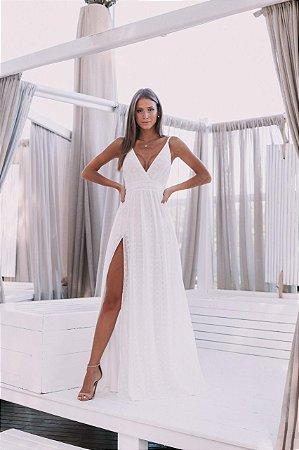Vestido de noiva simples longo com fenda