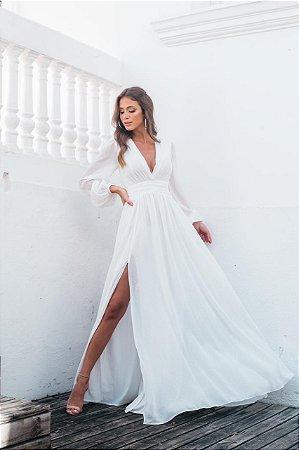 Vestido de noiva branco simples com decote V e manga longa