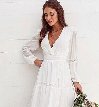 Vestido de noiva civil manga longa decote V
