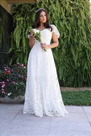 Vestido de noiva longo Violeta, modelo Boho cor off white