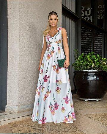 Vestido longo estampado floral alças de amarração