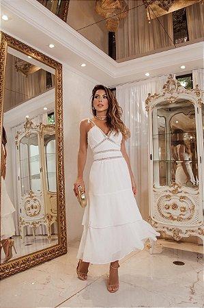 Vestido max de alças com guipir de noiva civil